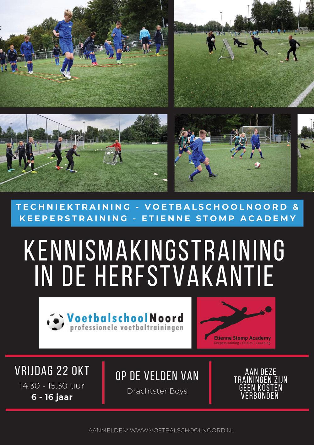 Kennismakingstraining Voetbalschool Noord en Etienne Stomp Academy